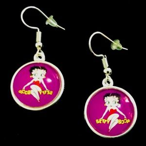 BETTY BOOP Purple Cabochon Earrings